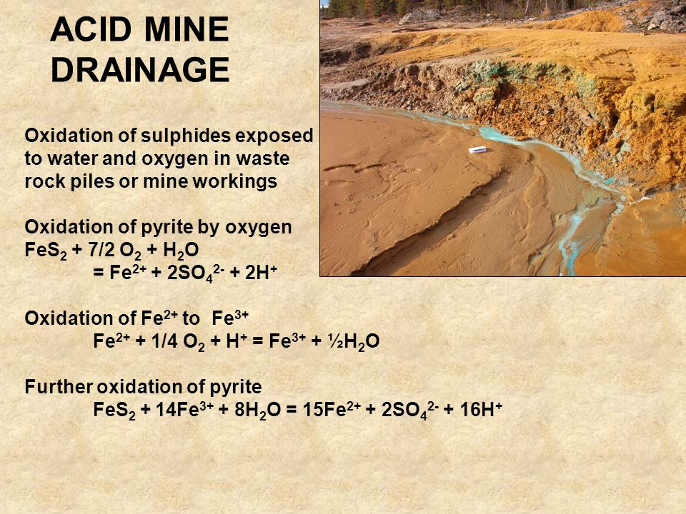 ACID MINE DRAINAGE Oxidation of sulphides exposed to water and oxygen in waste rock piles or mine workings Oxidation of pyrite by oxygen FeS 2 + 7/2 O 2 + H 2 O = Fe 2+ + 2SO 4 2- + 2H + Oxidation of Fe 2+ to Fe 3+ Fe 2+ + 1/4 O 2 + H + = Fe 3+ + ½H 2 O Further oxidation of pyrite FeS 2 + 14Fe 3+ + 8H 2 O = 15Fe 2+ + 2SO 4 2- + 16H +