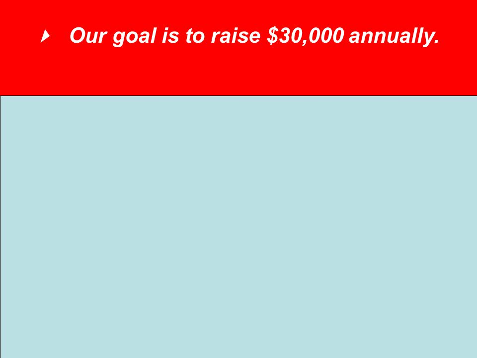 Our goal is to raise $30,000 annually. 