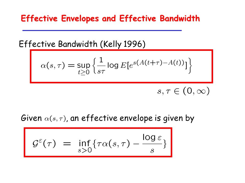 Effective Envelopes and Effective Bandwidth Effective Bandwidth (Kelly 1996) Given, an effective envelope is given by