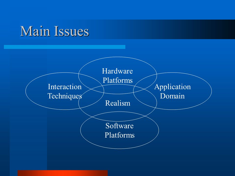 Main Issues Hardware Platforms Software Platforms Application Domain Interaction Techniques Realism
