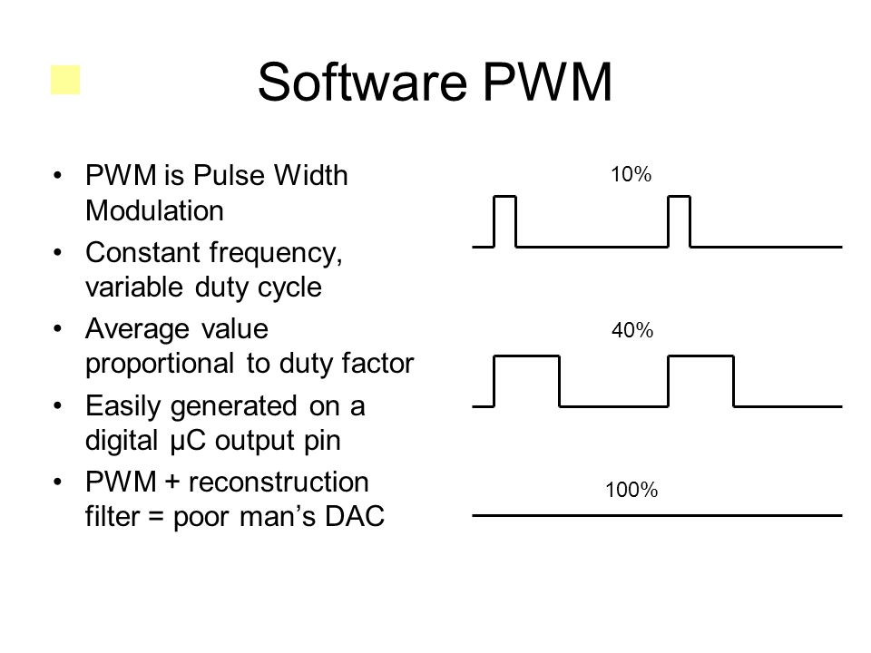 Software PWM PWM is Pulse Width Modulation Constant frequency, variable duty cycle Average value proportional to duty factor Easily generated on a digital μC output pin PWM + reconstruction filter = poor man's DAC 10% 40% 100%