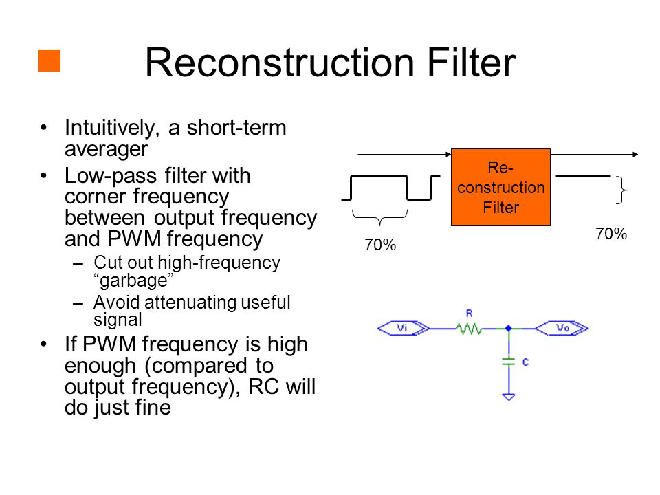 Reconstruction Filter Intuitively, a short-term averager Low-pass filter with corner frequency between output frequency and PWM frequency –Cut out high-frequency garbage –Avoid attenuating useful signal If PWM frequency is high enough (compared to output frequency), RC will do just fine 70% Re- construction Filter