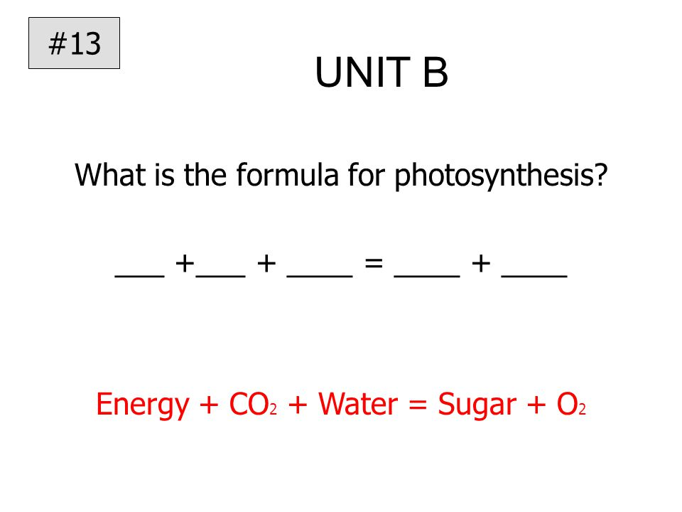 UNIT B What is the formula for photosynthesis.