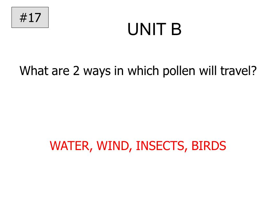 UNIT B What are 2 ways in which pollen will travel WATER, WIND, INSECTS, BIRDS #17