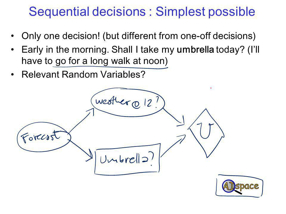 Sequential decisions : Simplest possible Only one decision.