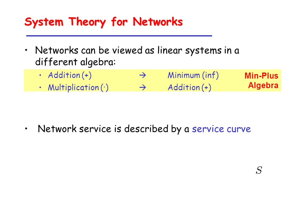 Min-Plus Algebra System Theory for Networks Networks can be viewed as linear systems in a different algebra: Addition (+)  Minimum (inf) Multiplication (·)  Addition (+) Network service is described by a service curve