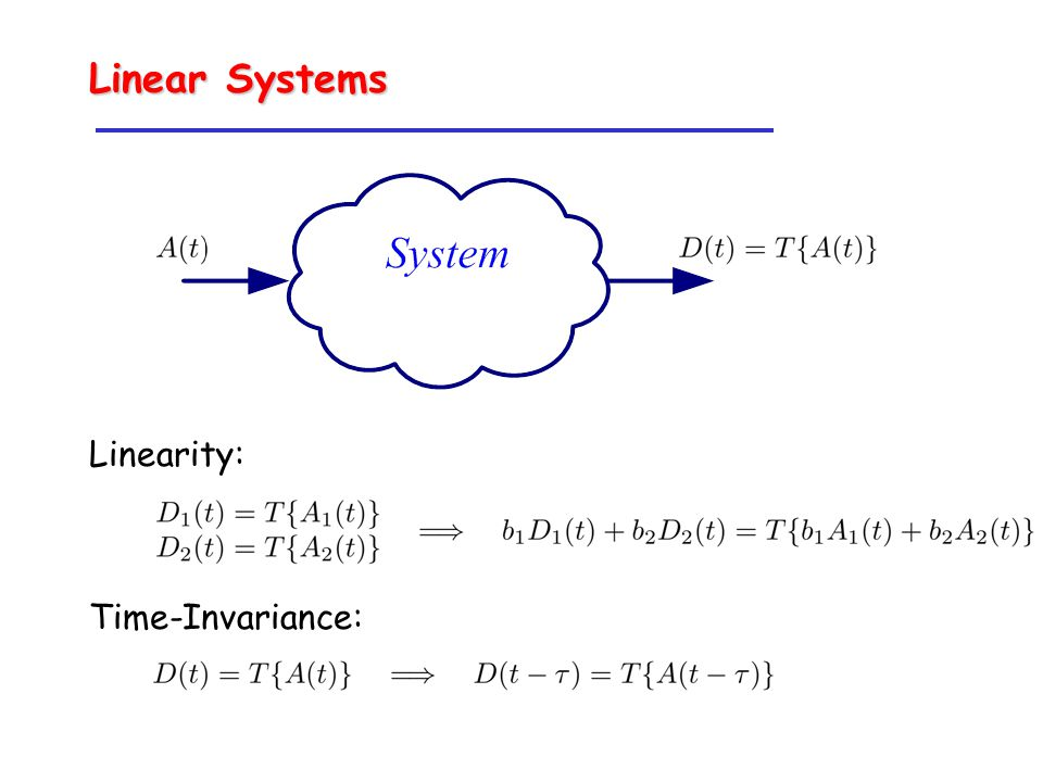 Linear Systems Linearity: Time-Invariance: