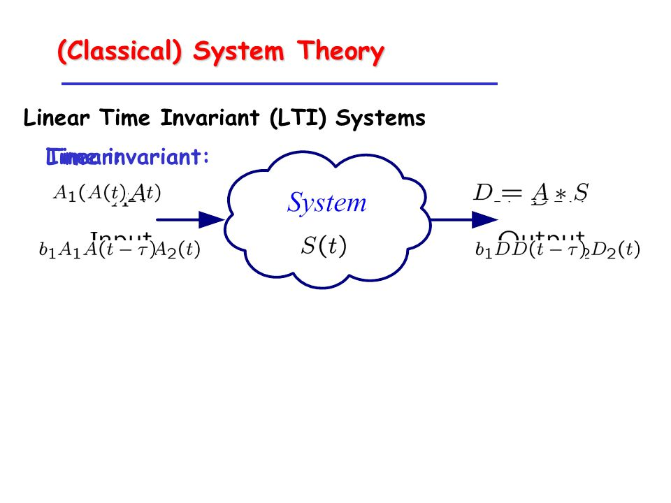 (Classical) System Theory Linear Time Invariant (LTI) Systems Linear:Time invariant: