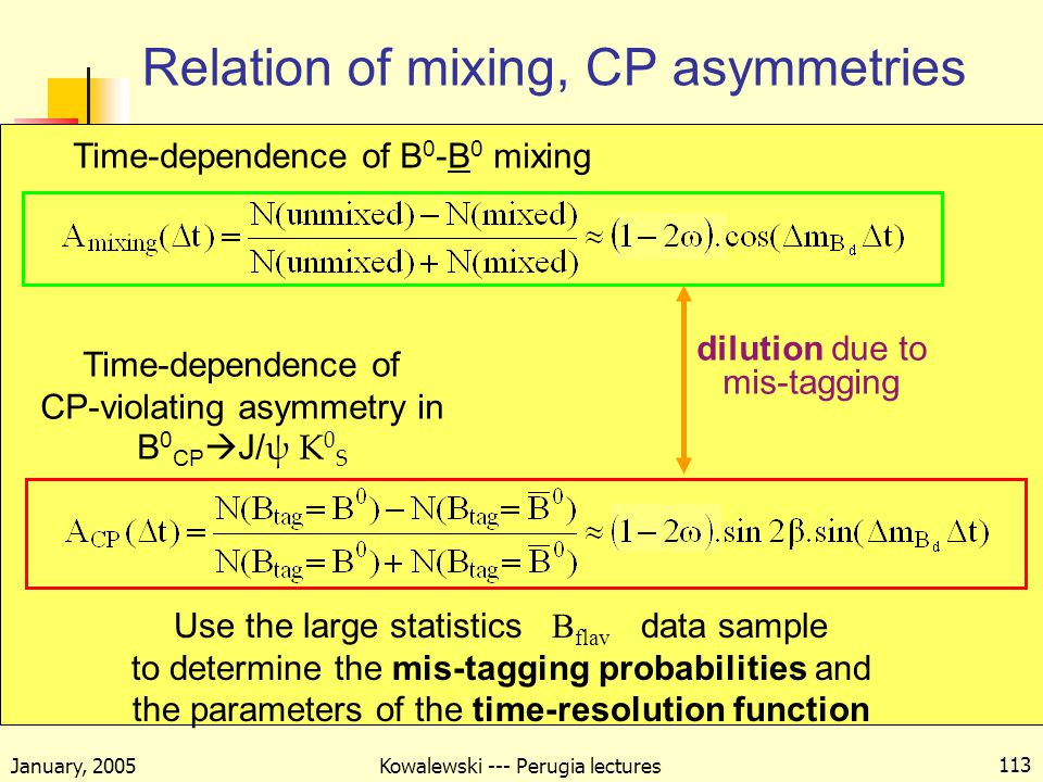 January, 2005 Kowalewski --- Perugia lectures 113 Relation of mixing, CP asymmetries Use the large statistics B flav data sample to determine the mis-tagging probabilities and the parameters of the time-resolution function Time-dependence of CP-violating asymmetry in B 0 CP  J/ ψ K 0 S Time-dependence of B 0 -B 0 mixing dilution due to mis-tagging