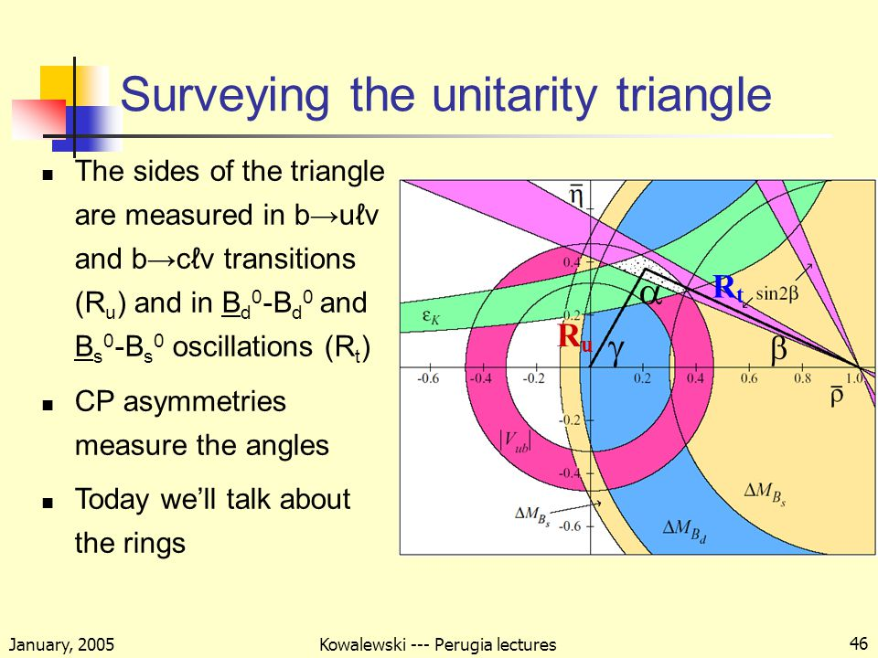 January, 2005 Kowalewski --- Perugia lectures 46 Surveying the unitarity triangle The sides of the triangle are measured in b→uℓν and b→cℓν transitions (R u ) and in B d 0 -B d 0 and B s 0 -B s 0 oscillations (R t ) CP asymmetries measure the angles Today we'll talk about the rings GET A BETTER PICTURE RuRu RtRt   