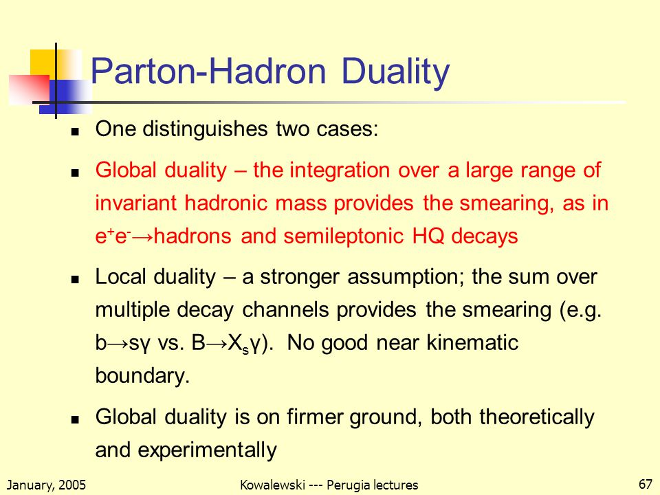 January, 2005 Kowalewski --- Perugia lectures 67 Parton-Hadron Duality One distinguishes two cases: Global duality – the integration over a large range of invariant hadronic mass provides the smearing, as in e + e - →hadrons and semileptonic HQ decays Local duality – a stronger assumption; the sum over multiple decay channels provides the smearing (e.g.