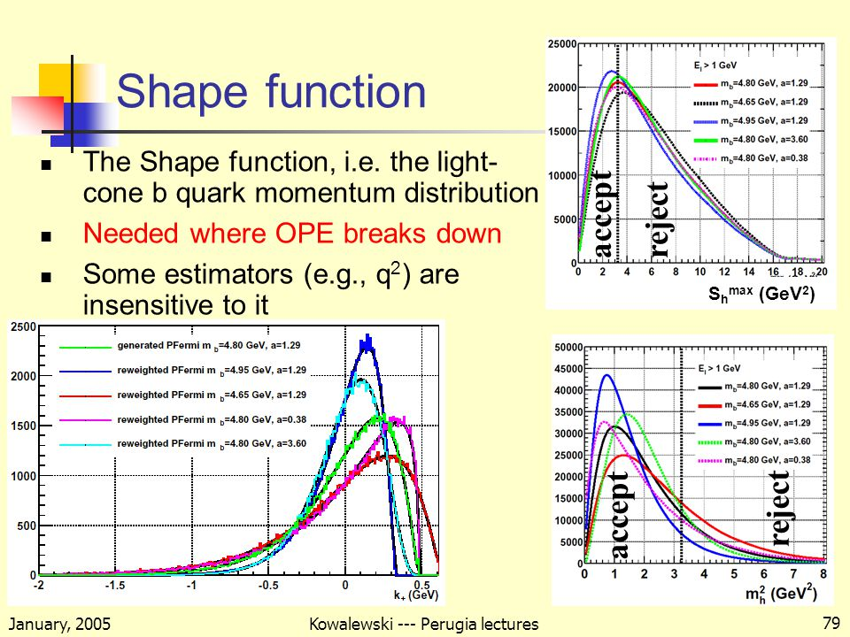 January, 2005 Kowalewski --- Perugia lectures 79 Shape function The Shape function, i.e.
