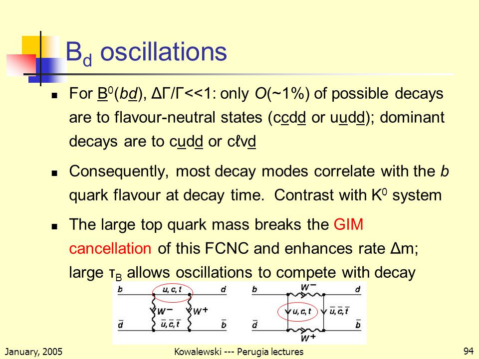 January, 2005 Kowalewski --- Perugia lectures 94 B d oscillations For B 0 (bd), ΔΓ/Γ<<1: only O(~1%) of possible decays are to flavour-neutral states (ccdd or uudd); dominant decays are to cudd or cℓνd Consequently, most decay modes correlate with the b quark flavour at decay time.