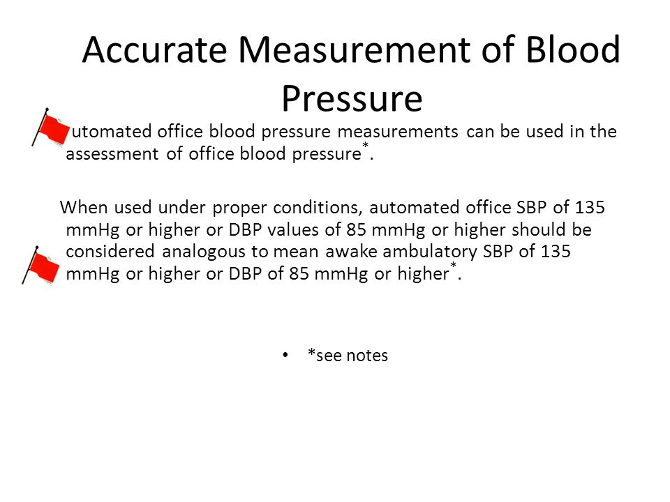Accurate Measurement of Blood Pressure Automated office blood pressure measurements can be used in the assessment of office blood pressure *.