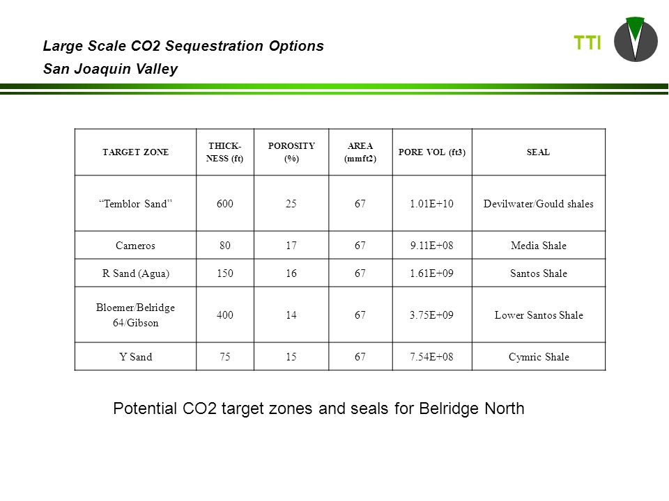 TTI Large Scale CO2 Sequestration Options San Joaquin Valley Potential CO2 target zones and seals for Belridge North TARGET ZONE THICK- NESS (ft) POROSITY (%) AREA (mmft2) PORE VOL (ft3)SEAL Temblor Sand 60025671.01E+10Devilwater/Gould shales Carneros8017679.11E+08Media Shale R Sand (Agua)15016671.61E+09Santos Shale Bloemer/Belridge 64/Gibson 40014673.75E+09Lower Santos Shale Y Sand7515677.54E+08Cymric Shale