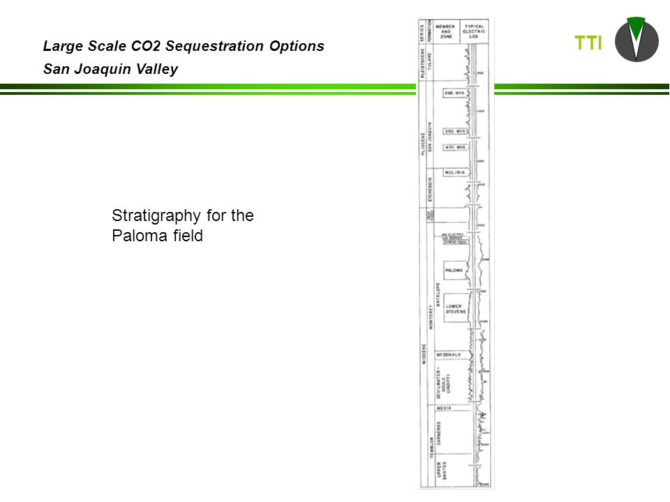 TTI Large Scale CO2 Sequestration Options San Joaquin Valley Stratigraphy for the Paloma field