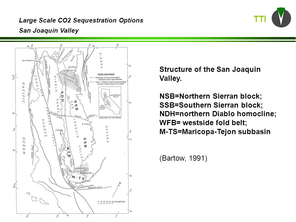 TTI Large Scale CO2 Sequestration Options San Joaquin Valley Structure of the San Joaquin Valley.