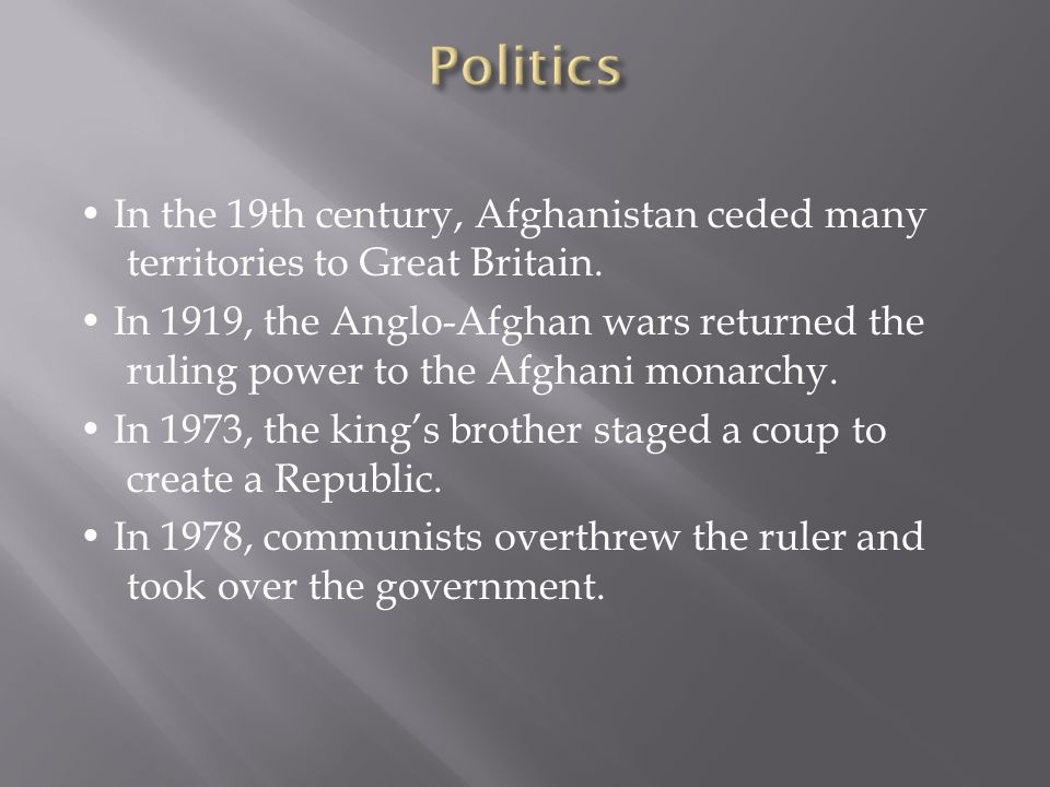 In the 19th century, Afghanistan ceded many territories to Great Britain.