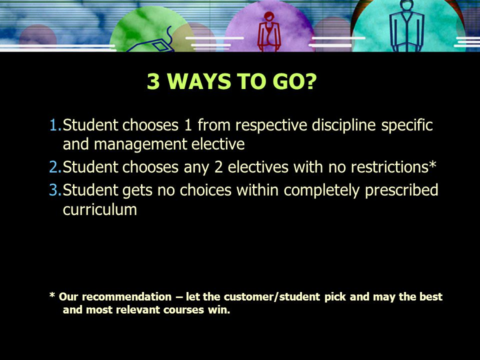 1.Student chooses 1 from respective discipline specific and management elective 2.Student chooses any 2 electives with no restrictions* 3.Student gets no choices within completely prescribed curriculum * Our recommendation – let the customer/student pick and may the best and most relevant courses win.