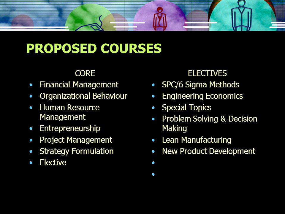 PROPOSED COURSES CORE Financial Management Organizational Behaviour Human Resource Management Entrepreneurship Project Management Strategy Formulation Elective ELECTIVES SPC/6 Sigma Methods Engineering Economics Special Topics Problem Solving & Decision Making Lean Manufacturing New Product Development