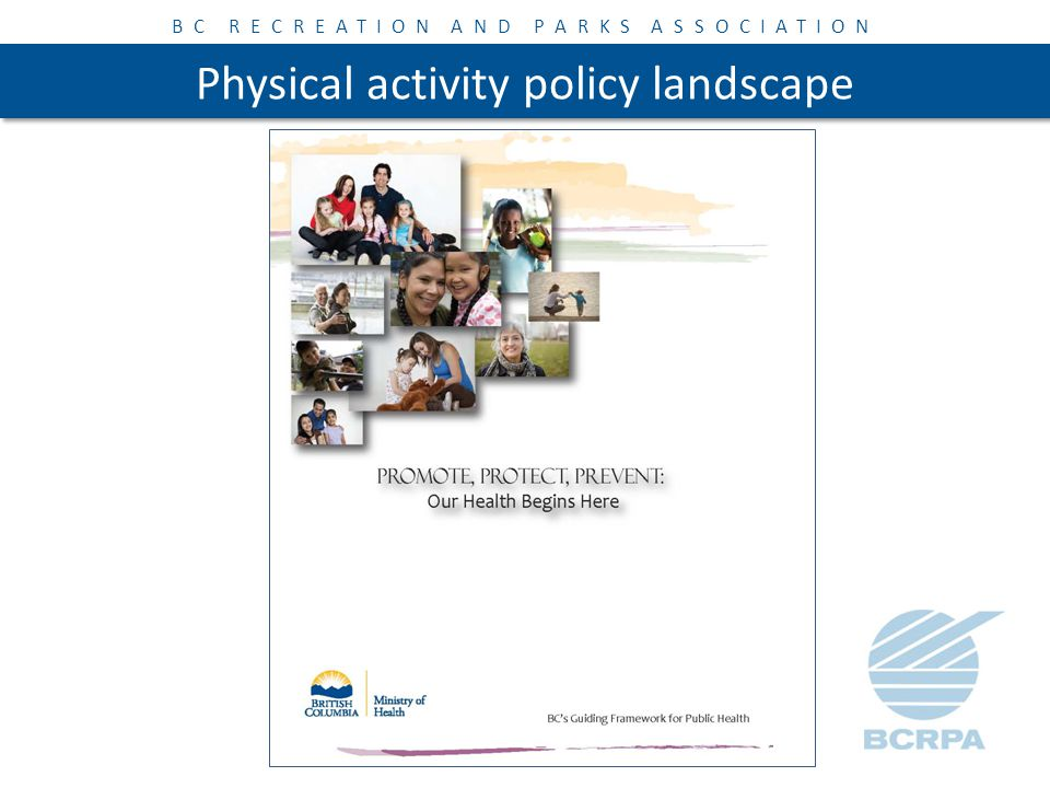 BC RECREATION AND PARKS ASSOCIATION Physical activity policy landscape Action Groups: – Active Transportation – Accessibility / Diversity – Schools – Active Play