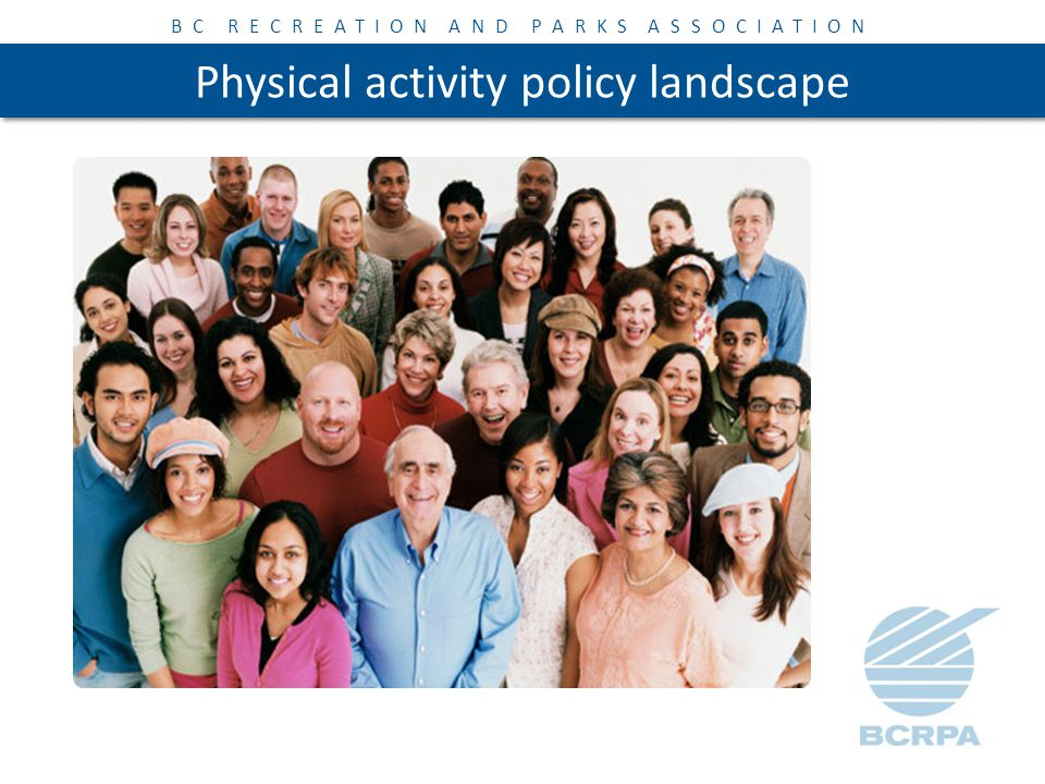 BC RECREATION AND PARKS ASSOCIATION Physical activity policy landscape Important considerations for increasing physical activity levels: 1.Demographic changes 2.Rate of urbanization 3.Challenges in public health 4.Growing economic inequality 5.Social challenges