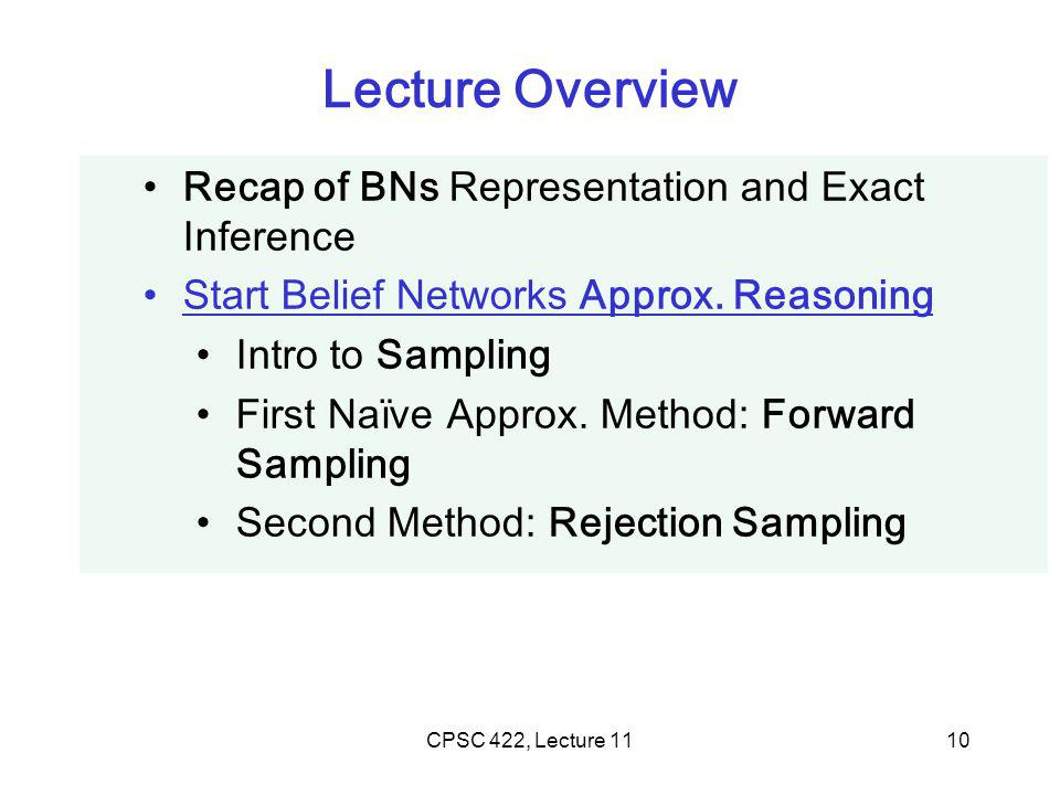 CPSC 422, Lecture 1110 Lecture Overview Recap of BNs Representation and Exact Inference Start Belief Networks Approx.