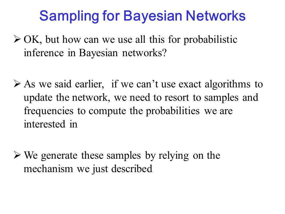 Sampling for Bayesian Networks  OK, but how can we use all this for probabilistic inference in Bayesian networks.