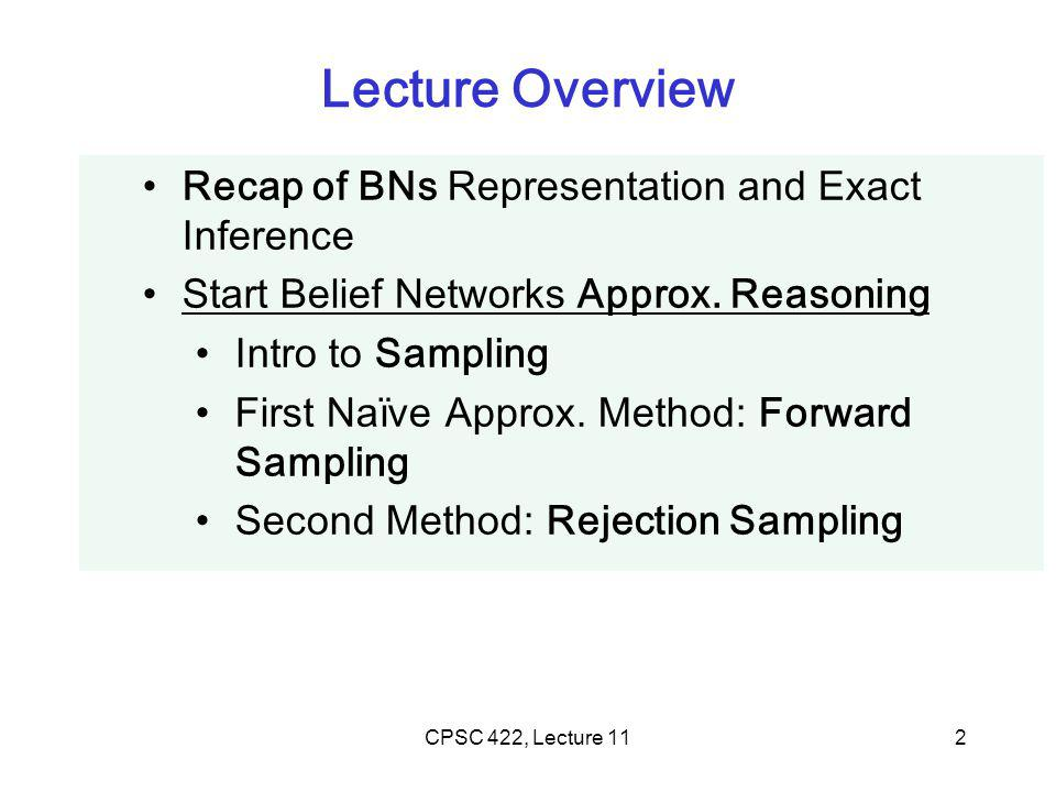 CPSC 422, Lecture 112 Lecture Overview Recap of BNs Representation and Exact Inference Start Belief Networks Approx.