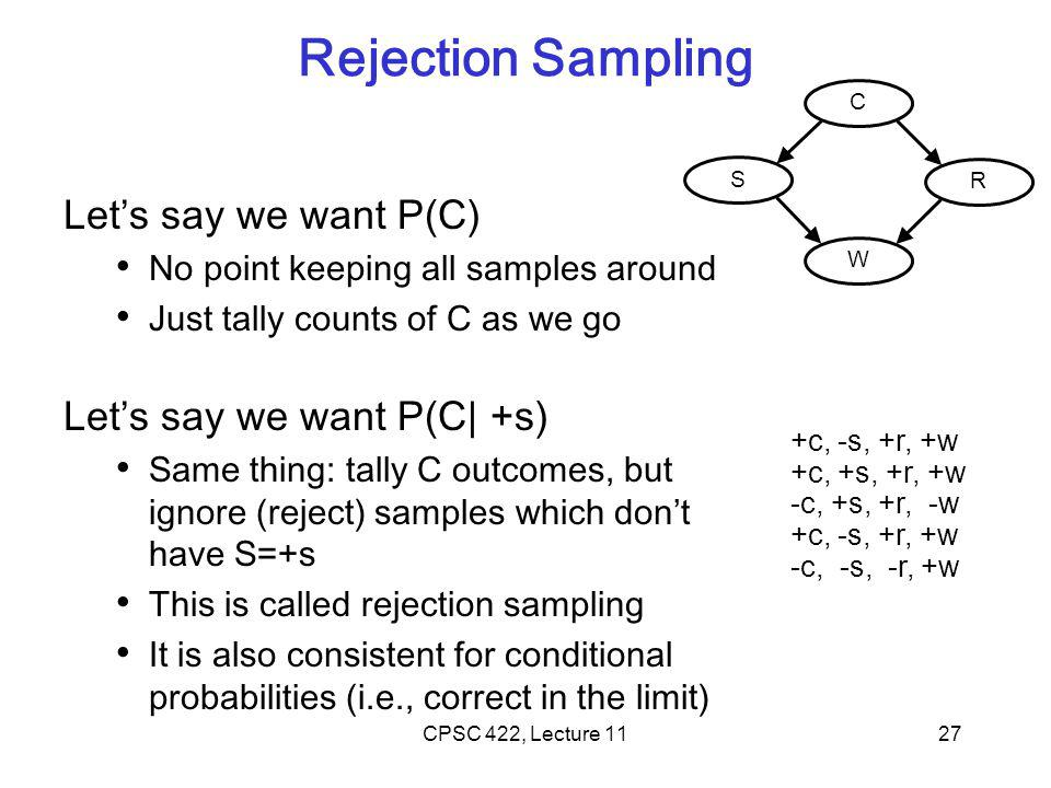 Rejection Sampling Let's say we want P(C) No point keeping all samples around Just tally counts of C as we go Let's say we want P(C| +s) Same thing: tally C outcomes, but ignore (reject) samples which don't have S=+s This is called rejection sampling It is also consistent for conditional probabilities (i.e., correct in the limit) +c, -s, +r, +w +c, +s, +r, +w -c, +s, +r, -w +c, -s, +r, +w -c, -s, -r, +w 27CPSC 422, Lecture 11 C S R W