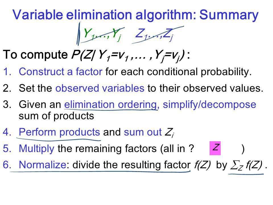 CPSC 322, Lecture 10Slide 7 Variable elimination algorithm: Summary To compute P(Z| Y 1 =v 1,…,Y j =v j ) : 1.Construct a factor for each conditional probability.