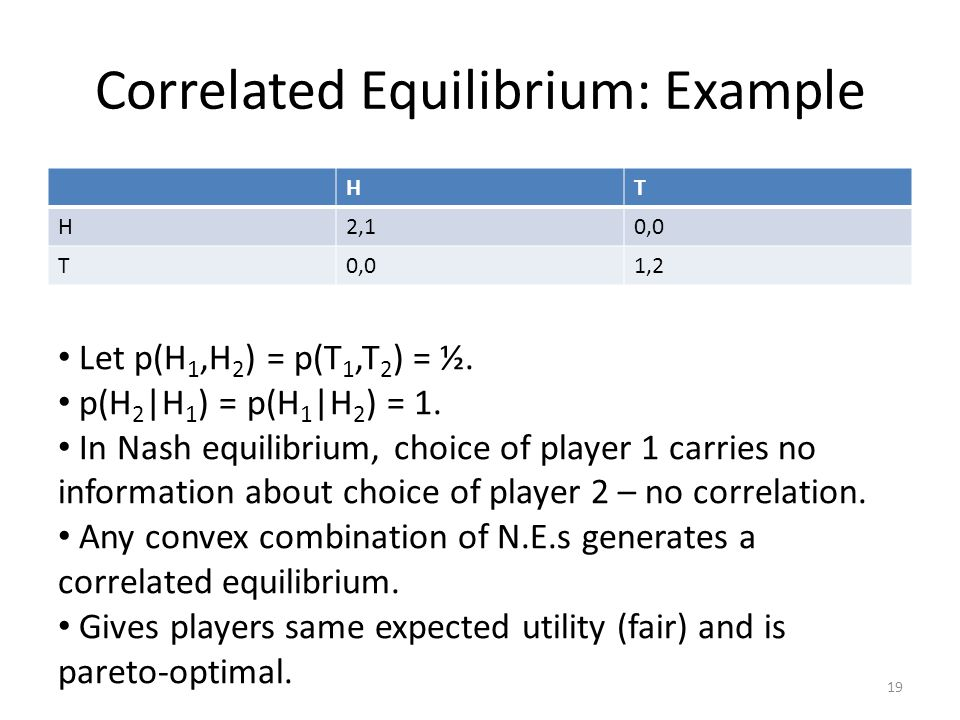 Correlated Equilibrium: Example HT H2,10,0 T 1,2 19 Let p(H 1,H 2 ) = p(T 1,T 2 ) = ½.