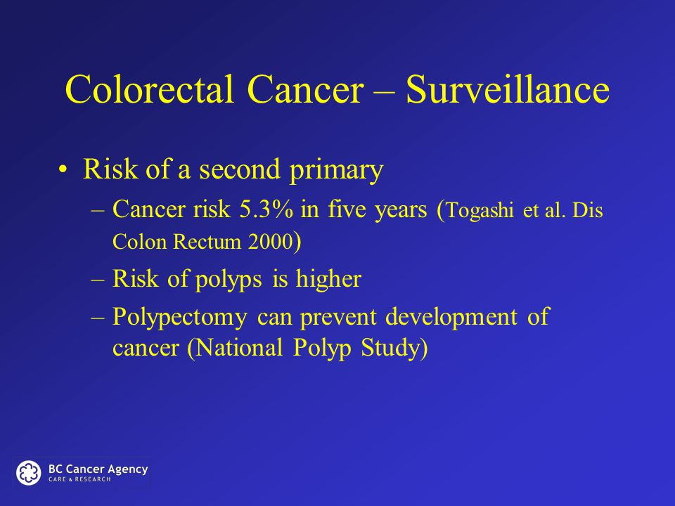 Colorectal Cancer – Surveillance Risk of a second primary –Cancer risk 5.3% in five years ( Togashi et al.