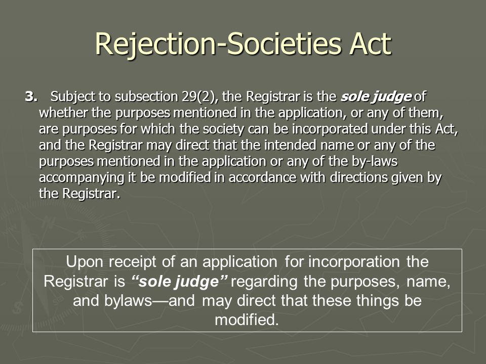 Rejection-Societies Act 3.
