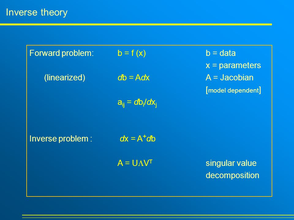Inverse theory Forward problem: b = f (x) b = data x = parameters (linearized)db = Adx A = Jacobian [ model dependent ] a ij = db i /dx j Inverse problem : dx = A + db A = U  V T singular value decomposition