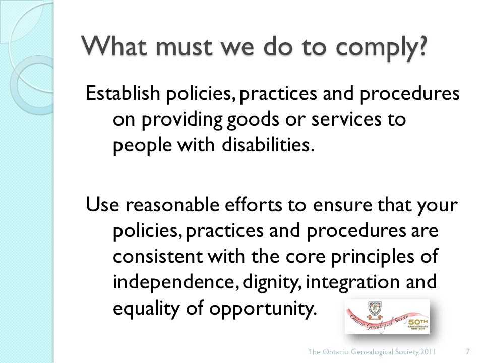 What must we do to comply.