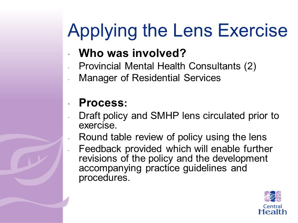 Applying the Lens Exercise Who was involved.