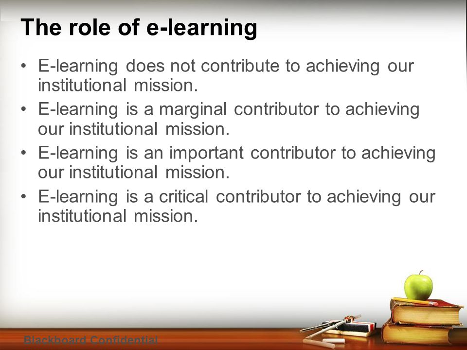 Blackboard Confidential The role of e-learning E-learning does not contribute to achieving our institutional mission.