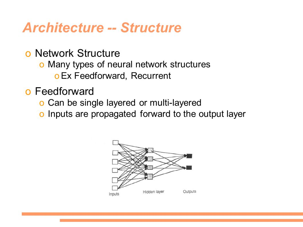 Architecture -- Structure oNetwork Structure oMany types of neural network structures oEx Feedforward, Recurrent oFeedforward oCan be single layered or multi-layered oInputs are propagated forward to the output layer