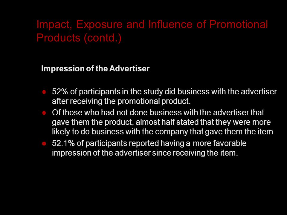 Impact, Exposure and Influence of Promotional Products (contd.) Impression of the Advertiser  52% of participants in the study did business with the advertiser after receiving the promotional product.