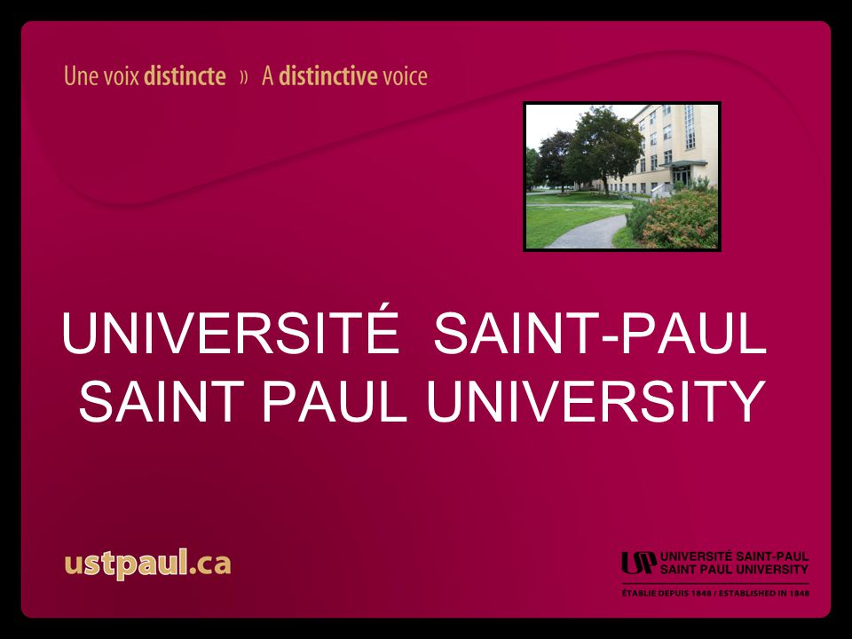 UNIVERSITÉ SAINT-PAUL SAINT PAUL UNIVERSITY