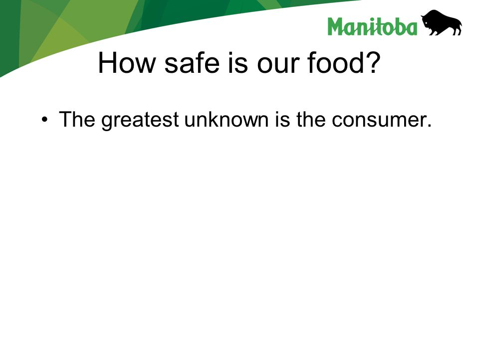 How safe is our food The greatest unknown is the consumer.