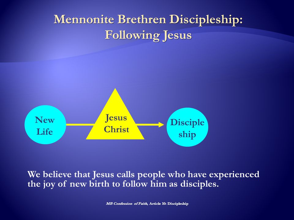 Mennonite Brethren Discipleship: Following Jesus Jesus Christ New Life Disciple ship We believe that Jesus calls people who have experienced the joy of new birth to follow him as disciples.