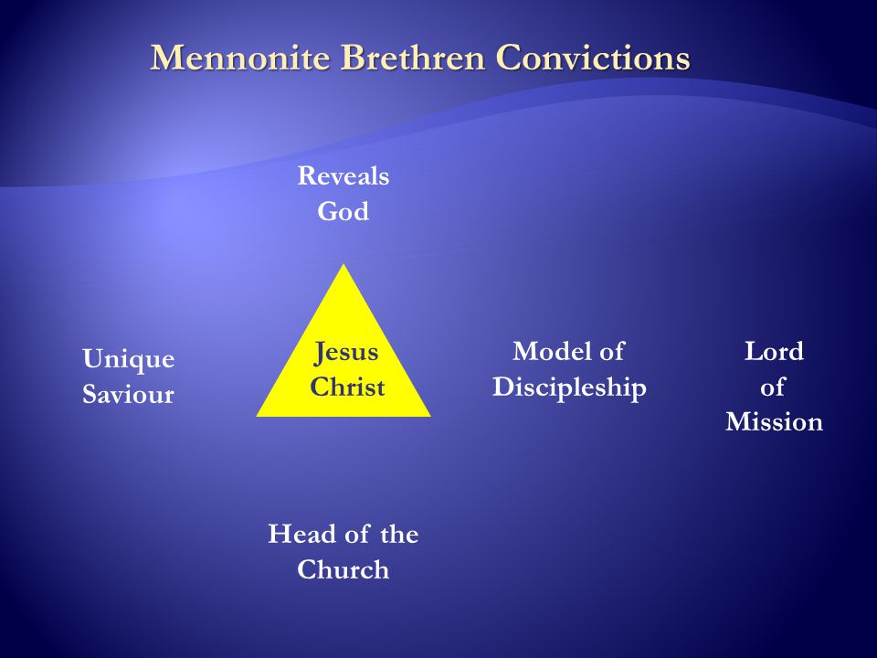 Mennonite Brethren Convictions Jesus Christ Reveals God Unique Saviour Model of Discipleship Head of the Church Lord of Mission