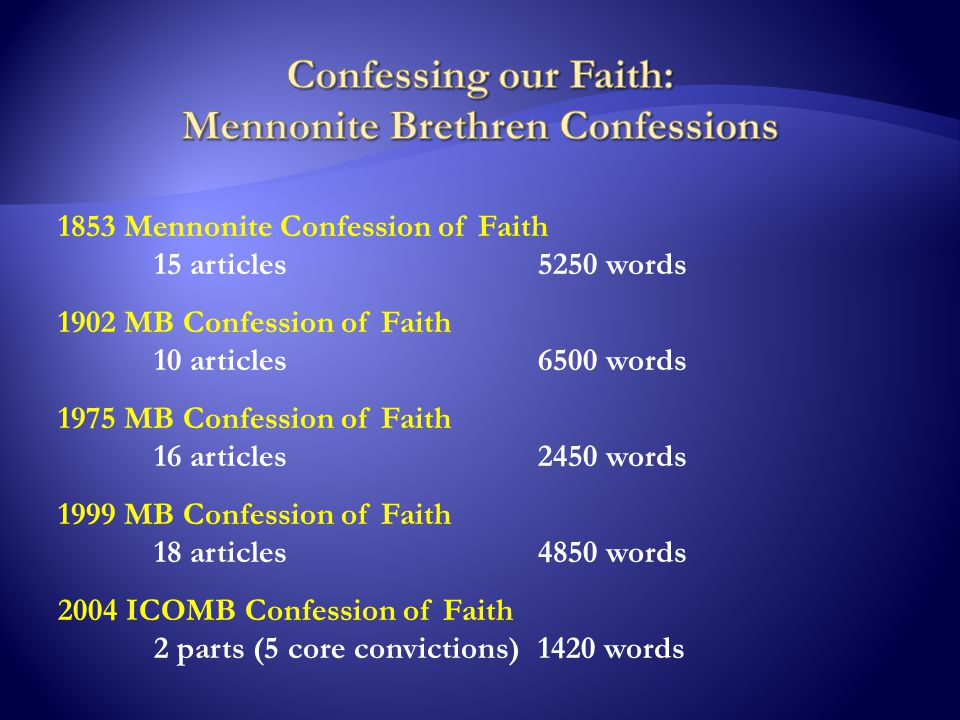 1853 Mennonite Confession of Faith 15 articles5250 words 1902 MB Confession of Faith 10 articles6500 words 1975 MB Confession of Faith 16 articles2450 words 1999 MB Confession of Faith 18 articles4850 words 2004 ICOMB Confession of Faith 2 parts (5 core convictions)1420 words