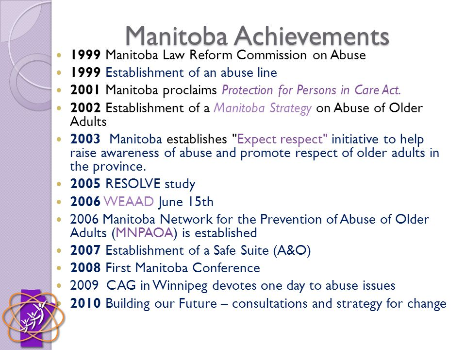 Manitoba Achievements 1999 Manitoba Law Reform Commission on Abuse 1999 Establishment of an abuse line 2001 Manitoba proclaims Protection for Persons in Care Act.