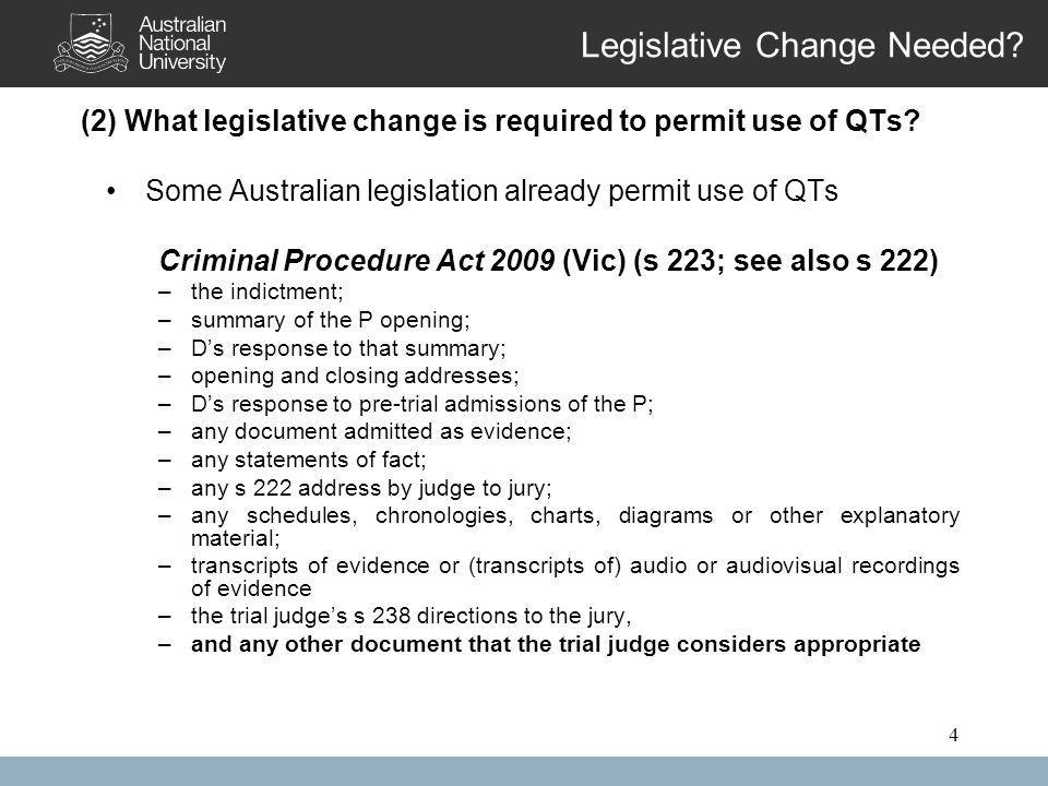 4 Legislative Change Needed. (2) What legislative change is required to permit use of QTs.