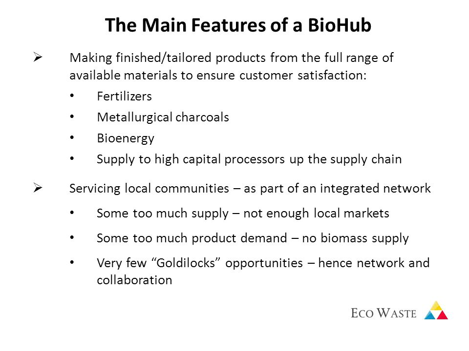 The Main Features of a BioHub  Making finished/tailored products from the full range of available materials to ensure customer satisfaction: Fertilizers Metallurgical charcoals Bioenergy Supply to high capital processors up the supply chain  Servicing local communities – as part of an integrated network Some too much supply – not enough local markets Some too much product demand – no biomass supply Very few Goldilocks opportunities – hence network and collaboration