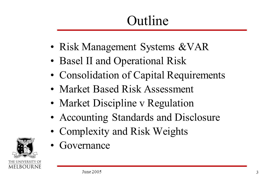 3 June 2005 Outline Risk Management Systems &VAR Basel II and Operational Risk Consolidation of Capital Requirements Market Based Risk Assessment Market Discipline v Regulation Accounting Standards and Disclosure Complexity and Risk Weights Governance