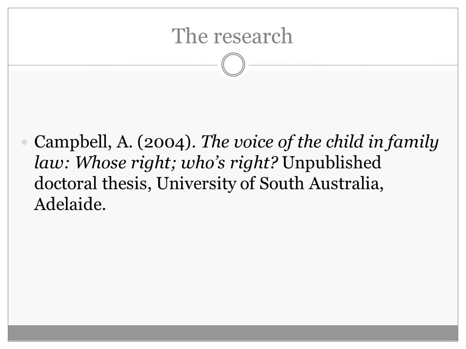 The research Campbell, A. (2004). The voice of the child in family law: Whose right; who's right.